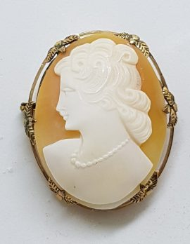 Gold Plated Ornate Oval Shell Cameo Brooch