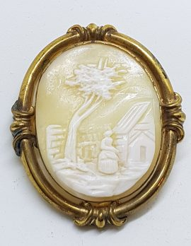 Gold Plated Ornate Oval Large Ornate Shell Scenery Cameo Brooch