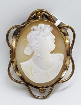 Gold Lined Ornate Oval Large Ornate Shell Lady Cameo Brooch