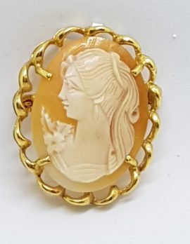 Gold Lined Ornate Oval Shell Lady Cameo Brooch