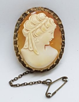 Gold Lined Oval Shell Lady Cameo Brooch - Ornate