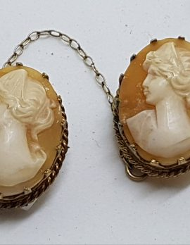 Gold Lined Double Oval Shell Lady Cameo Brooch - Ornate