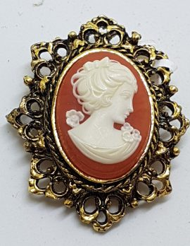 Gold Plated Large Oval Lady Cameo Brooch - Ornate