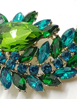 Gold Plated Very Large Blue and Green Cluster Brooch
