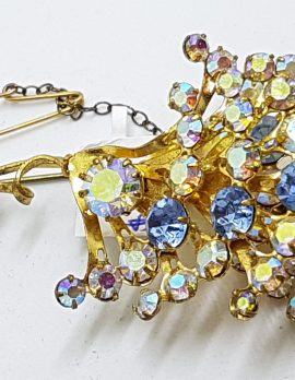 Gold Plated Large Blue and Aurora Borealis Cluster Brooch