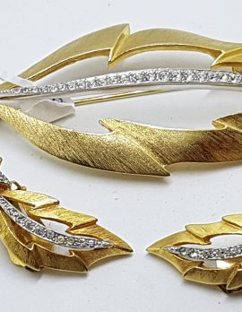 Gold Plated Large Clear Rhinestone Leaf Brooch and Clip-on Earring Set