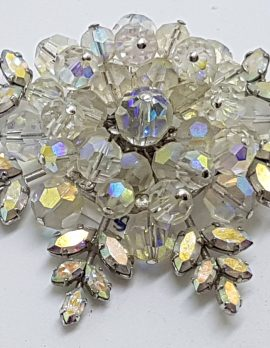 Silver Plated Large Crystal and Aurora Borealis Rhinestone Cluster Brooch