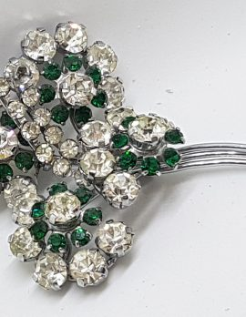 Silver Plated Large Clear & Green Rhinestone Cluster Brooch