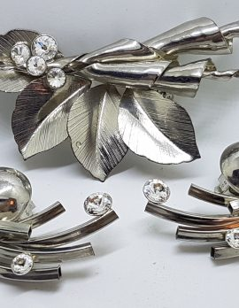 Silver Plated Large Clear Rhinestone Unusual Brooch and Clip-on Earring Set