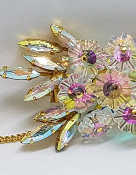 Gold Plated Large Crystal and Aurora Borealis Rhinestone Cluster Brooch