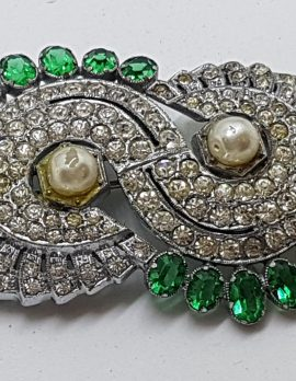 Silver Plated Large Clear & Green Rhinestone with Faux Pearl Oval Cluster Brooch
