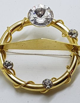 Gold Plated Large Clear Rhinestone Round Brooch