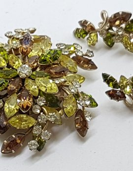Gold Plated Jewelcrest Clear, Green & Brown Rhinestone Cluster Brooch and Screw-On Earrings Set