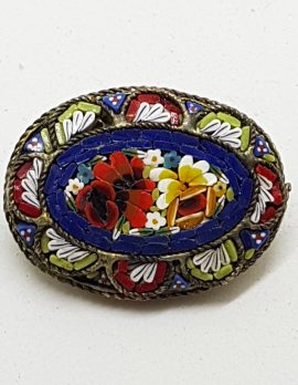 Oval Mosaic Floral Brooch