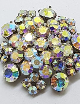 Silver Plated Large Round Aurora Borealis Rhinestone Cluster Brooch