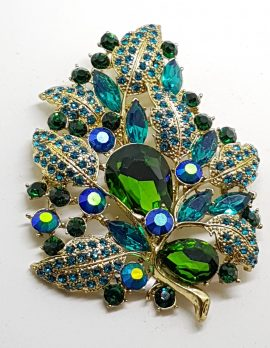 Gold Plated Very Large Blue and Green Leaf Cluster Brooch