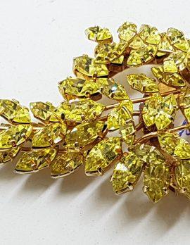 Gold Plated Jewelcrest Striking Yellow Rhinestone Cluster Spray Brooch