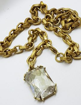 Gold Plated with Clear Rectangular Pendant Necklace