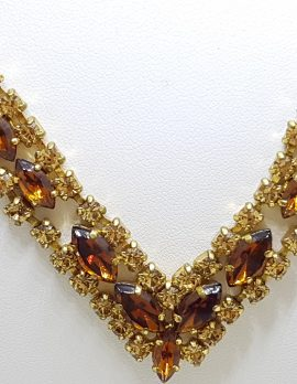 Gold Plated Brown and Yellow Rhinestone Vintage Necklace