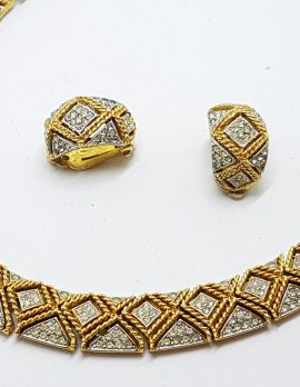 Gold Plated Clear Rhinestone Vintage Necklace and Clip-on Earring Set