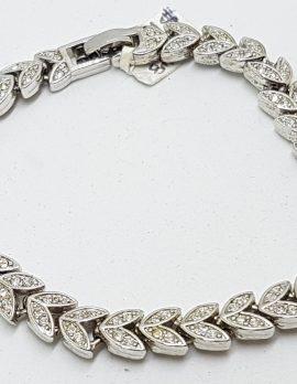 Silver Plated Swarovski Crystal Leaf Design Bracelet