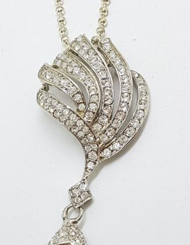 Silver Plated Swarovski Crystal Ornate Pendant on Chain with Faux Pearl Drop