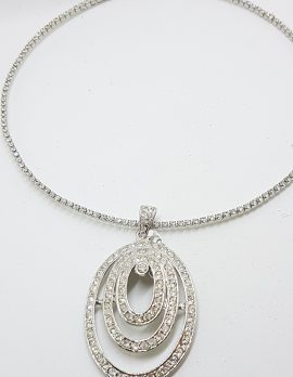 Silver Plated Swarovski Crystal Large Oval Pendant on Choker