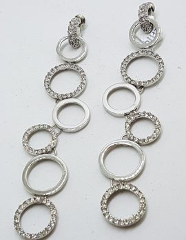 Silver Plated Swarovski Crystal Long Drop Earrings