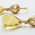 14ct Gold Ornate Tear Drop Citrine Earrings
