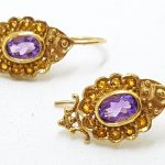 9ct Yellow Gold Amethyst and Citrine Ornate Drop Earrings