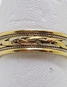 9ct Yellow, Rose and White Gold Celtic Plait Design Wedding Band Ring