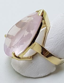 9ct Gold Large Cocktail Ring - Pear Shape Rose Quartz