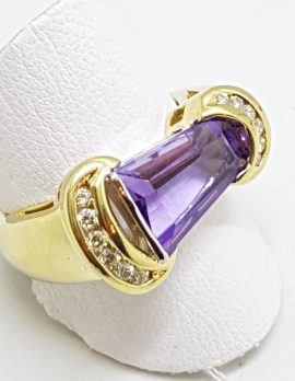 9ct Yellow Gold Large Unusual Shape Amethyst with Diamonds Ring