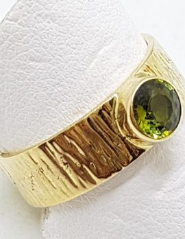 9ct Yellow Gold Green Tourmaline Wide Ring