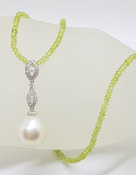 18ct White Gold Long Diamond & South Sea Pearl Pendant on Faceted Peridot Bead Chain