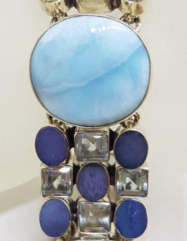 Sterling Silver Larimar, Topaz and Opal Wide Bracelet