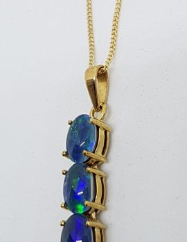 9ct Yellow Gold Opal Triplet Long Pendant on Gold Chain