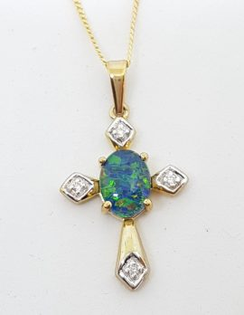 9ct Yellow Gold Opal & Diamond Cross / Crucifix Pendant on Gold Chain
