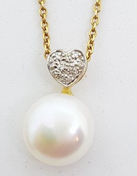 9ct Yellow Gold Pearl & Diamond Heart Pendant on Gold Chain