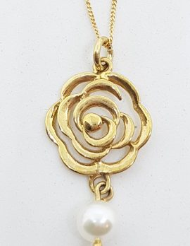 9ct Yellow Gold Pearl Long Rose / Flower Pendant on Gold Chain