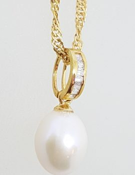 9ct Yellow Gold Pearl & Channel Set Diamond Pendant on Gold Chain