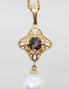9ct Yellow Gold Pearl & Smokey Quartz Ornate Filigree Pendant on Gold Chain