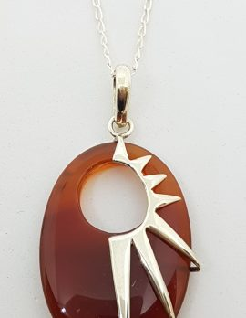 Sterling Silver Oval Carnelian Pendant on Chain - Sun-Burst Design