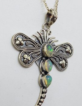 Sterling Silver Opal Dragonfly Pendant on Sterling Silver Chain