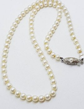 Sterling Silver Clasp Mikimoto Pearl Vintage Necklace / Chain