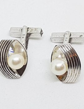 Sterling Silver Mikimoto Pearl Large Cufflinks