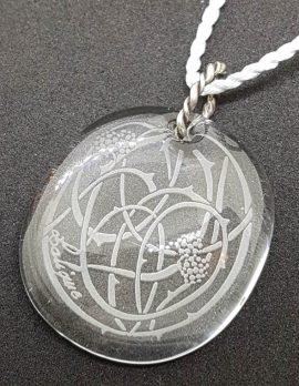 Genuine Lalique Crystal Pendant on Cord Chain