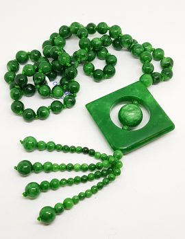 Burmese Jade Bead Necklace with Square Tassel Drop