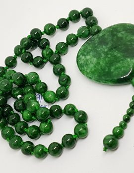 Burmese Jade Bead Necklace with Heart and Tassels