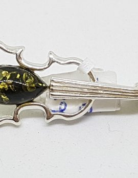 Sterling Silver Natural Amber Green Violin Musical Brooch